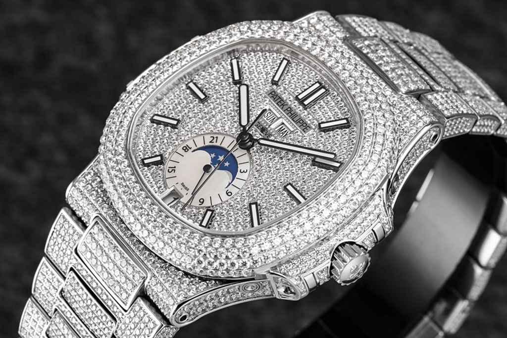 Patek 5726/1A-014 bust down diamonds silver case full works automatic 324S R8 factory WTxxx