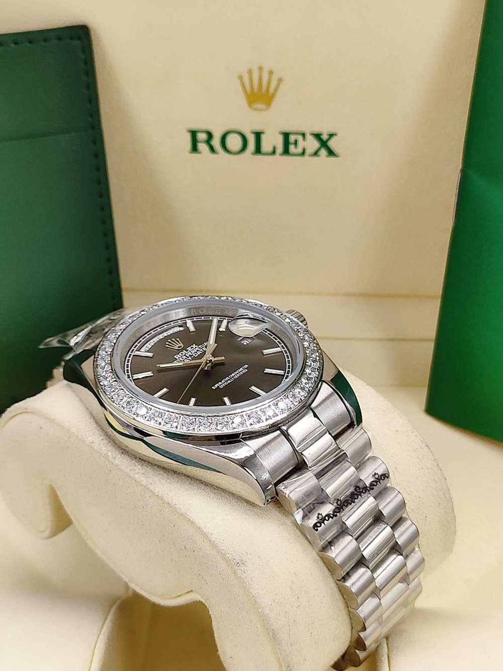 DayDate 41mm silver case dark gray dial diamonds bezel AAA automatic men replica Rolex watches