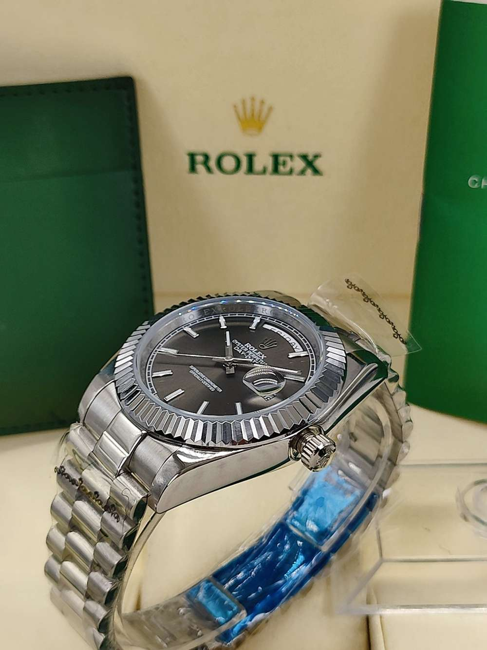 DayDate 41mm dark gray dial fluted bezel president band AAA automatic 2813 movement watches