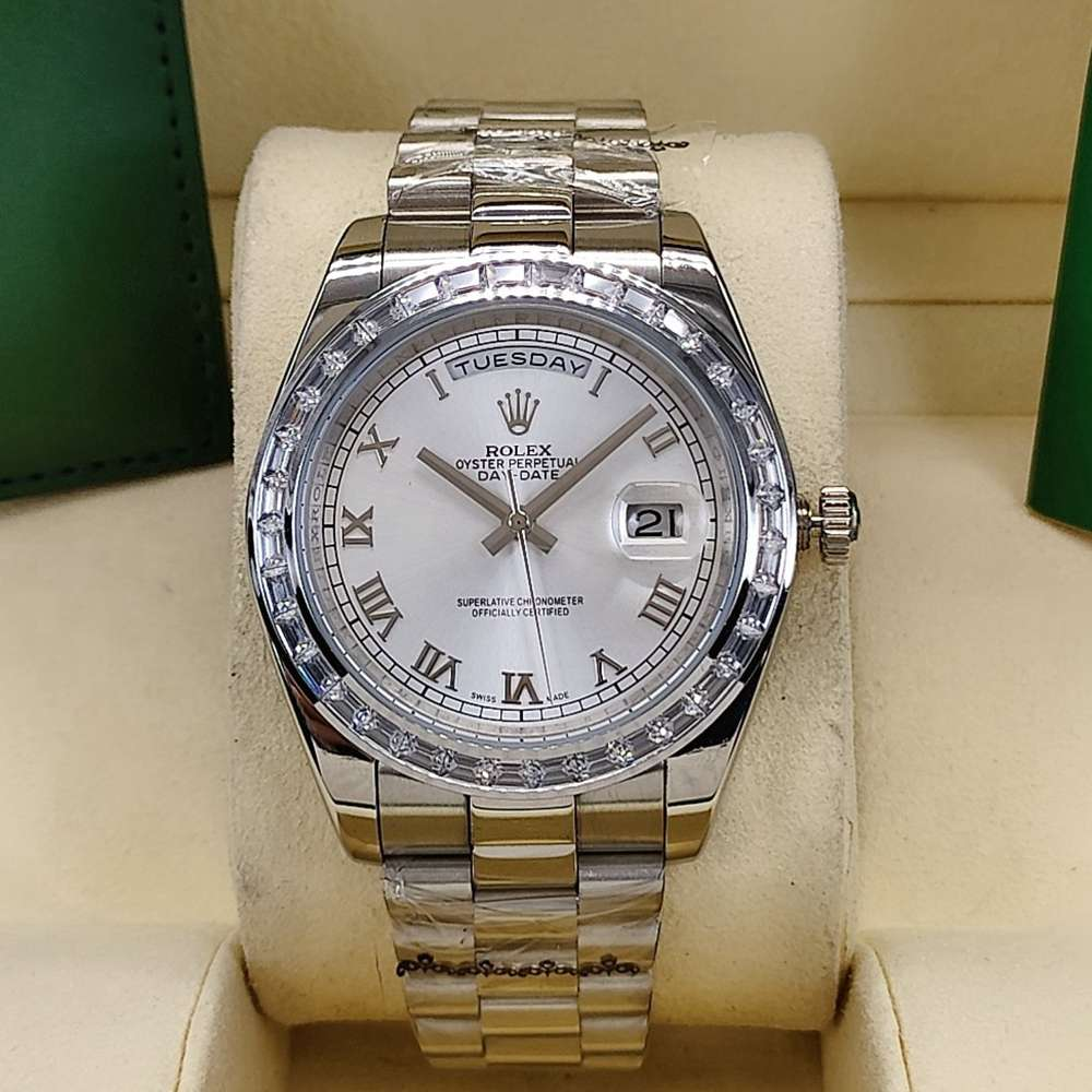 DayDate 41mm baguette diamonds bezel white dial roman numbers president band AAA men watch S