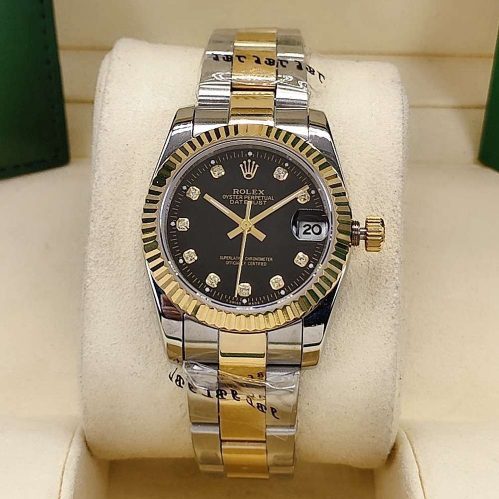 Datejust 31mm women 2tone gold case black dial diamonds numbers AAA lady watches S