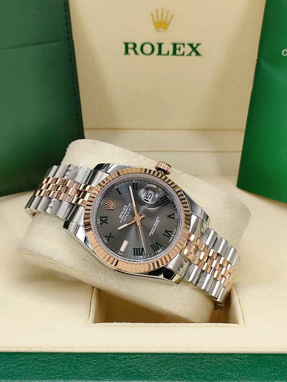 Datejust 36mm 2tone rose gold case gray dial Roman numbers jubilee band AAA automatic S