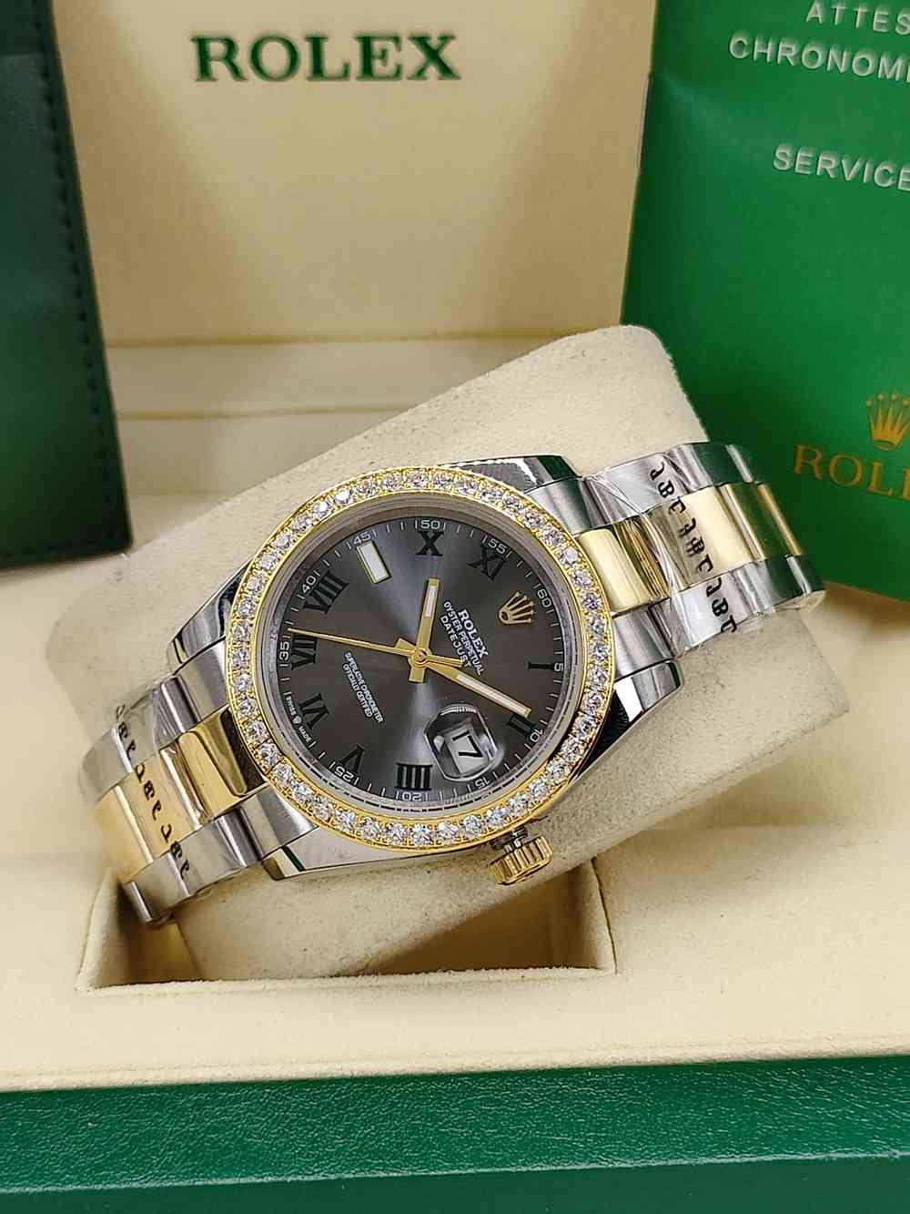 Datejust 36mm 2tone gold case gray dial roman numbers diamonds bezel AAA automatic S
