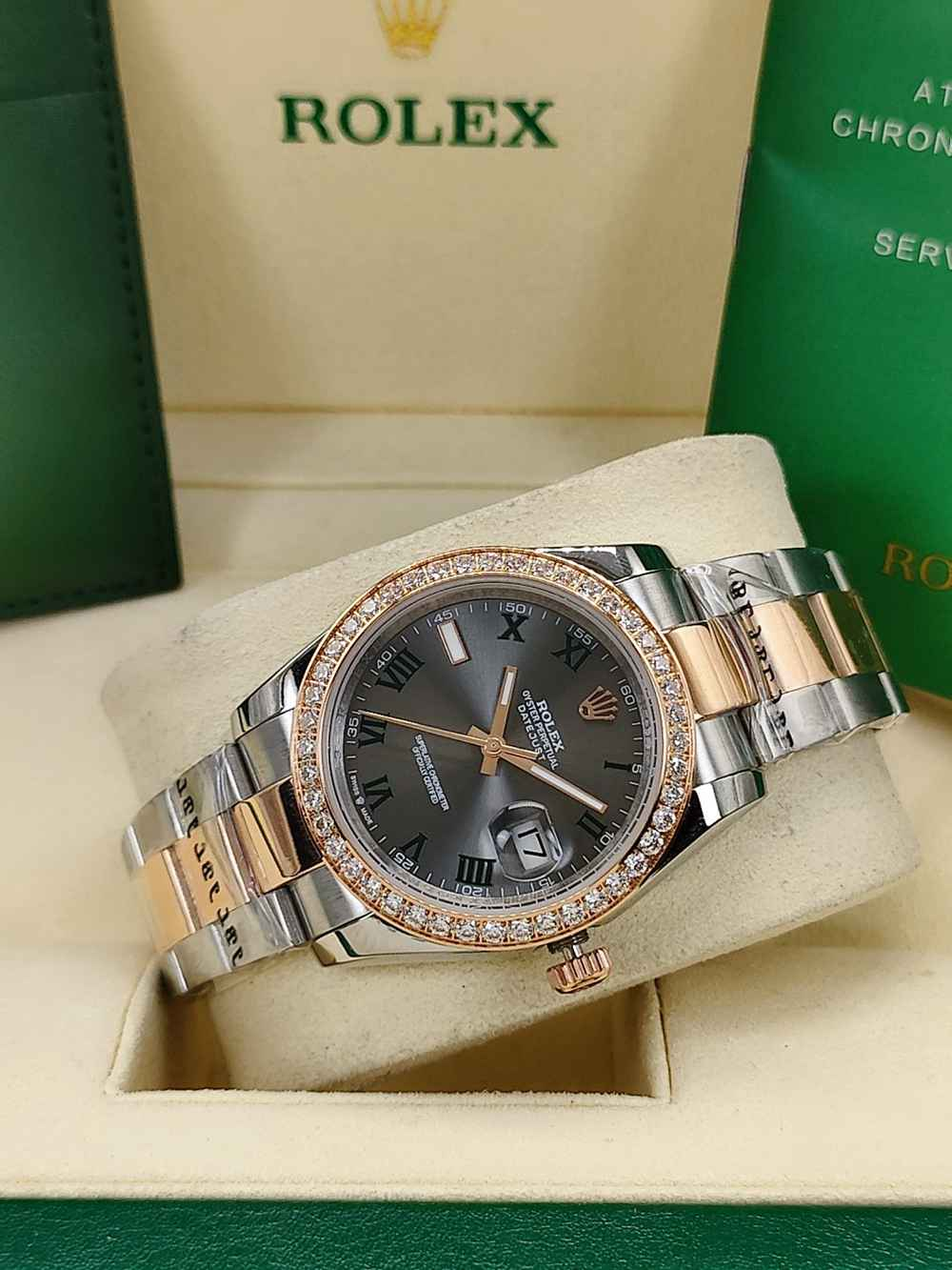 Datejust 36mm rose gold two tone case gray dial roman numbers diamonds bezel AAA automatic S
