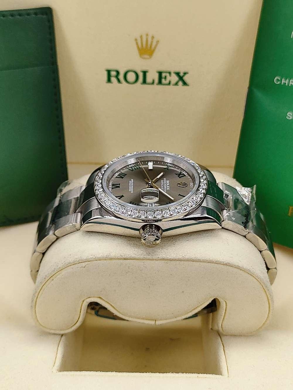 Datejust 36mm diamonds bezel silver case gray dial Roman numbers AAA automatic women S