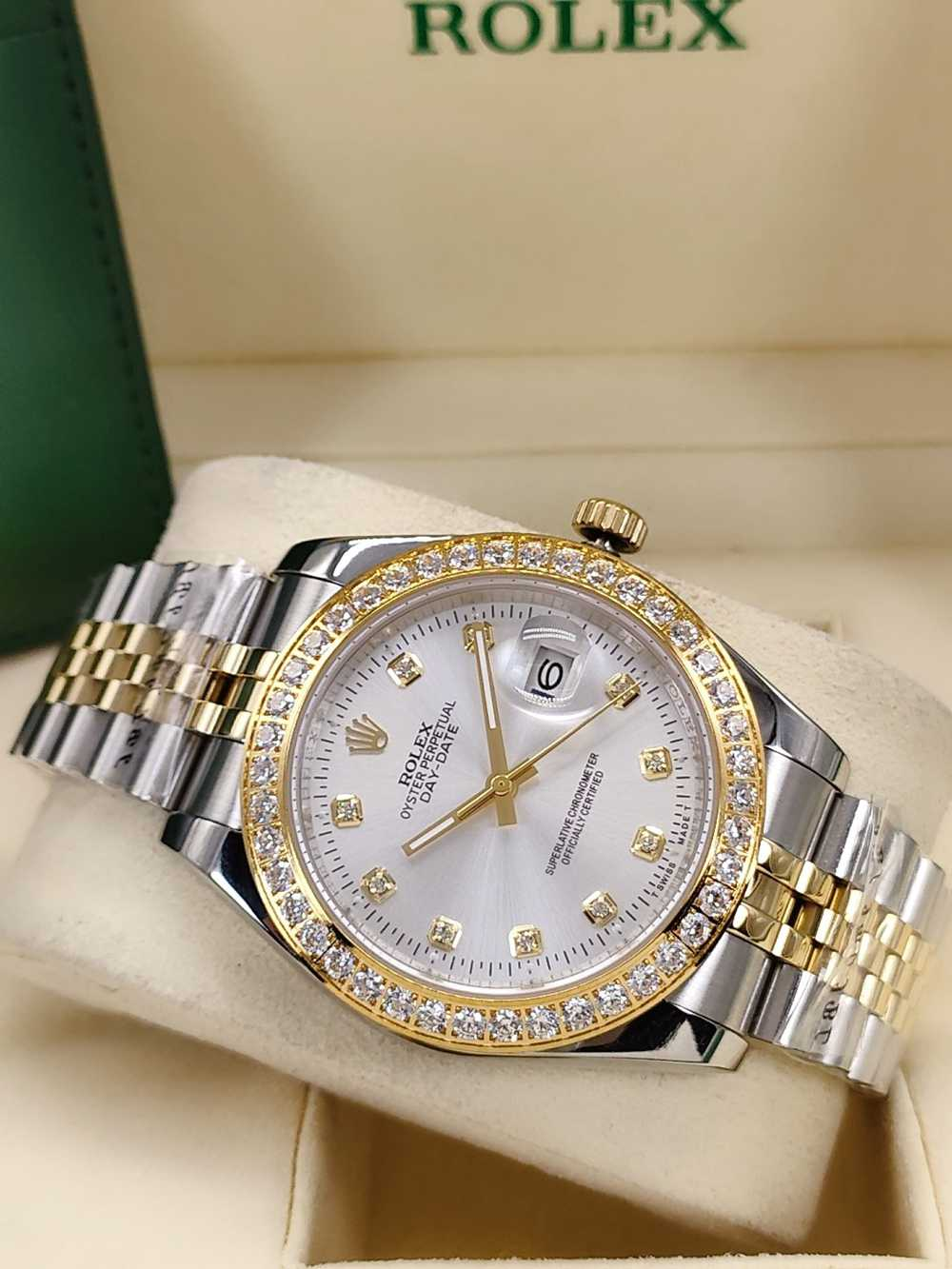 Datejust 41mm two tone gold case diamonds bezel silver dial jubilee band AAA automatic S