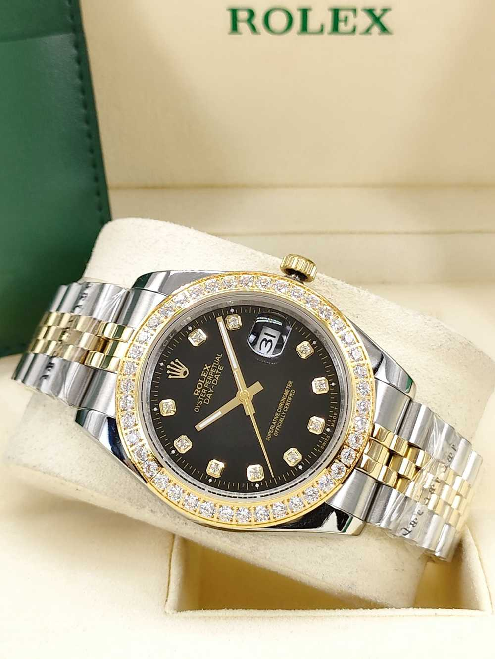 Datejust 41mm diamonds bezel two tone gold stainless steel case black dial jubilee band AAA S