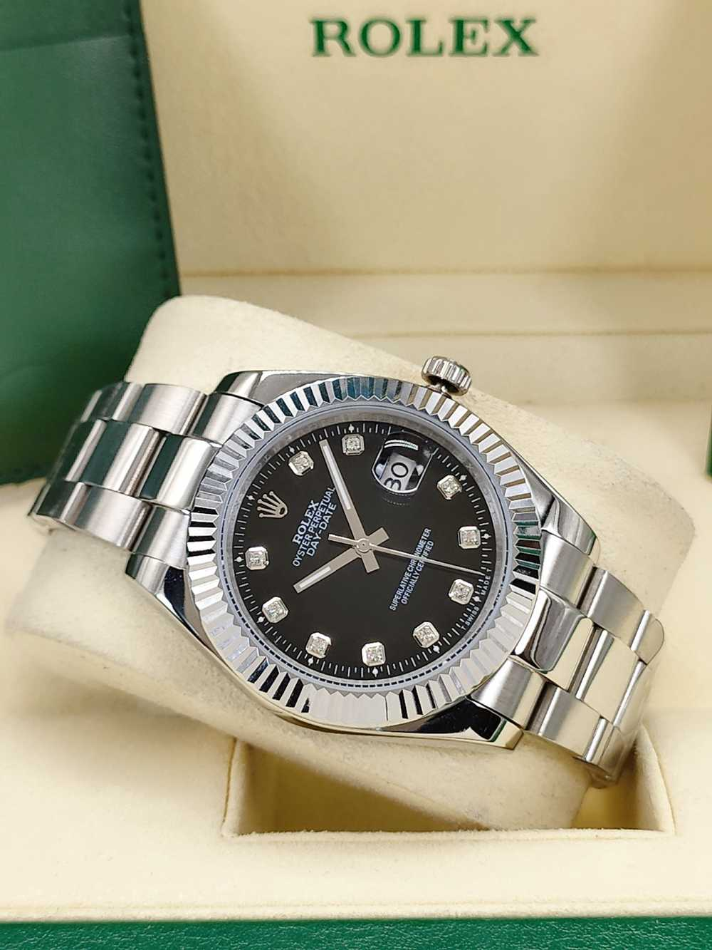 Datejust 41mm silver case black dial stainless steel 316L fluted bezel oyster band men watch S