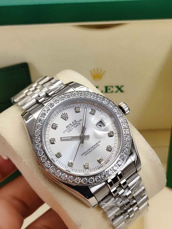 Datejust silver case 41mm silver face diamonds bezel stone numbers jubilee band men Rolex S