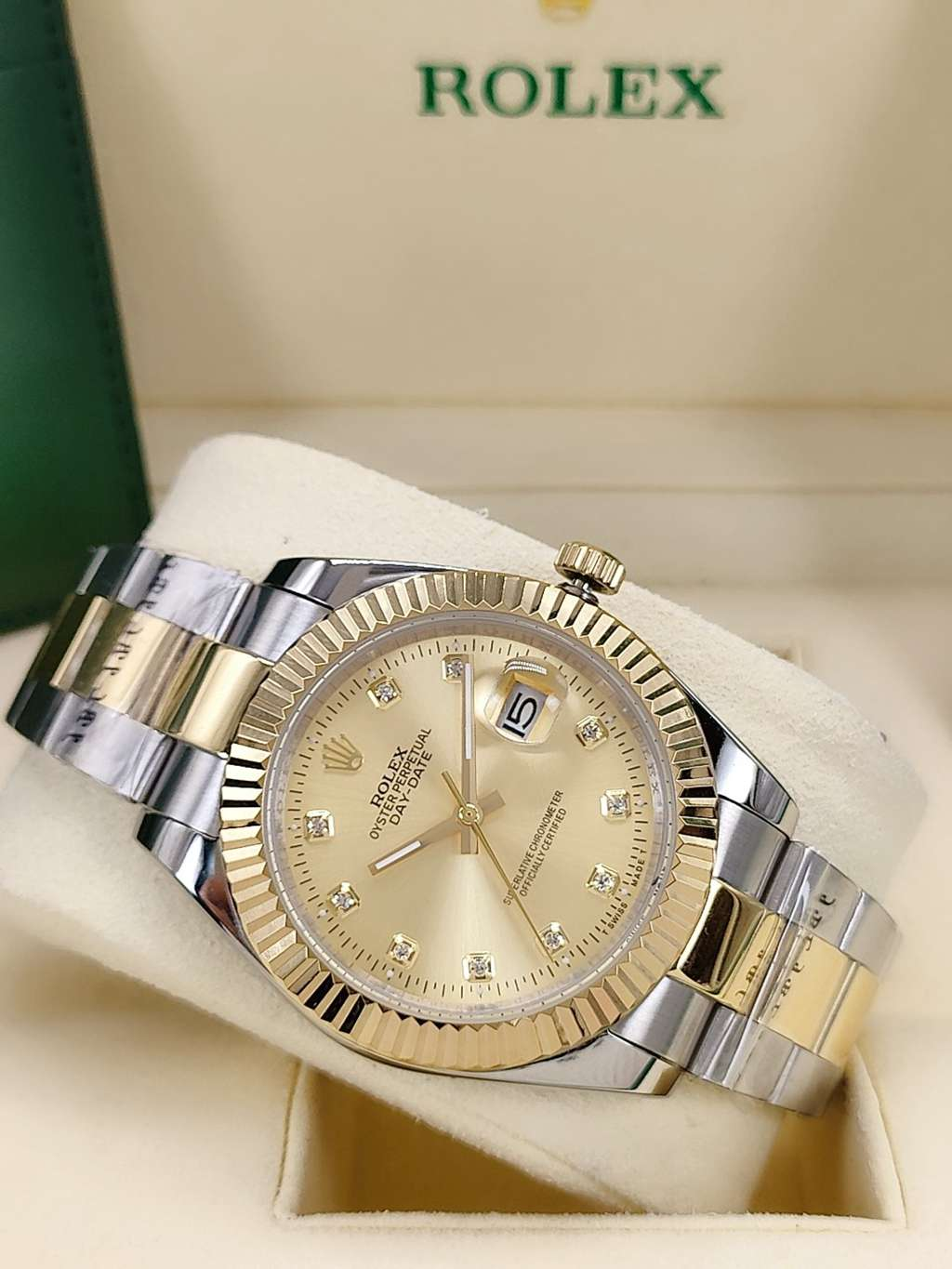 Datejust 2tone gold case 41mm AAA automatic oyster band gold face fluted bezel men watch S