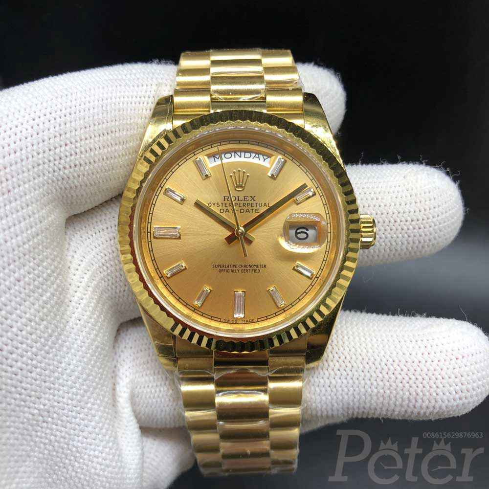 DayDate 41 EW factory 3255 movement gold case 39mm gold dial stone numbers president band EW140