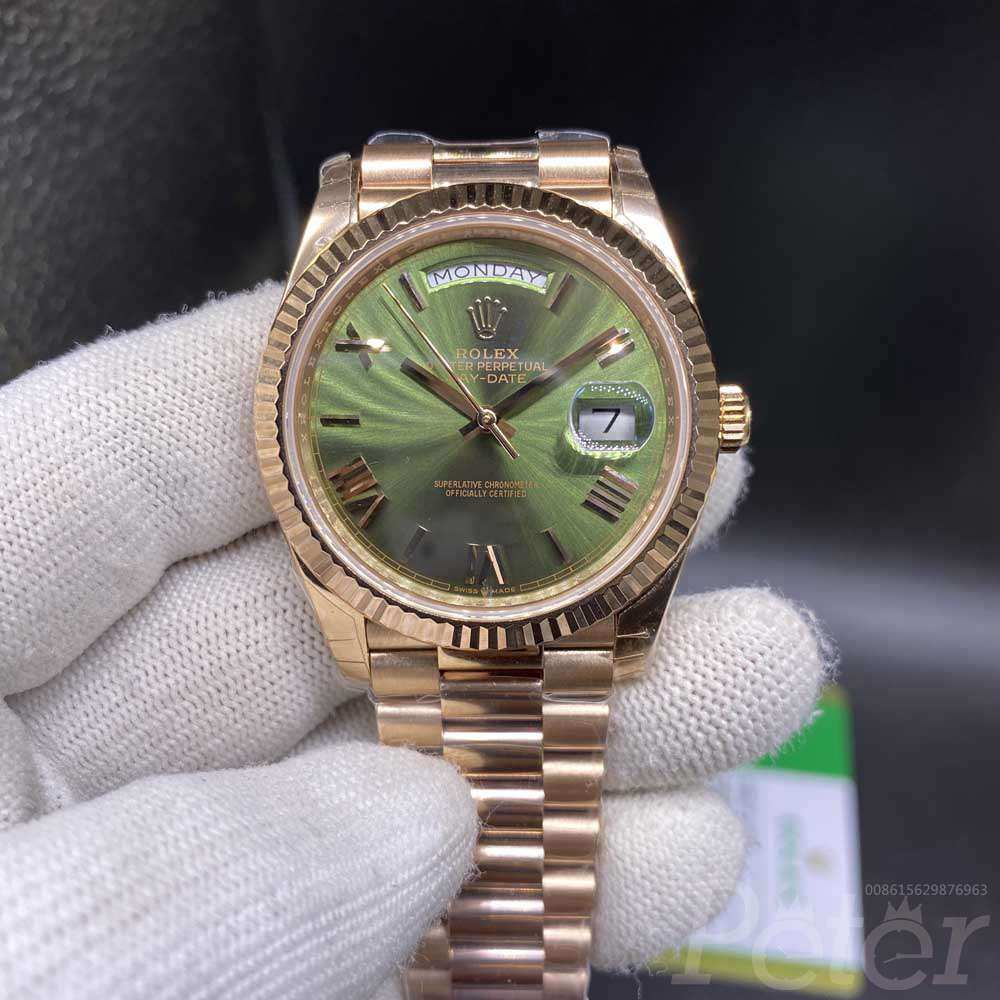DayDate rose gold case 39mm green dial roman numbers EW 3255 automatic Swiss 1:1 high grade 014