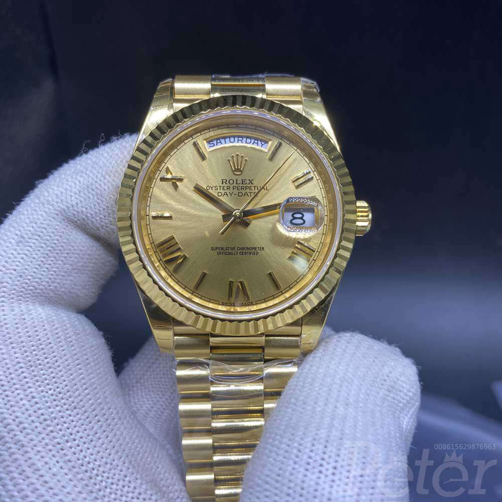 DayDate gold case 39mm gold face roman numbers president band EW 3255 automatic Swiss 1:1 grade