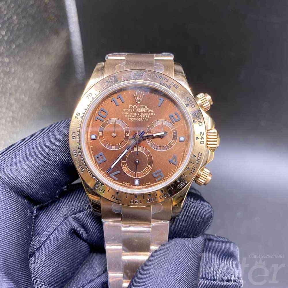 Daytona Swiss rose gold case 38.5mm coffee dial chronograph full works JH 4130 movement men stopwatch WT15