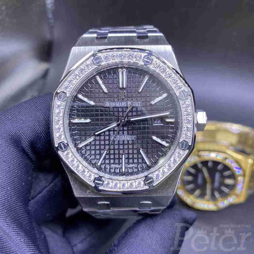 AP diamonds bezel silver case 42mm black dial AAA automatic stainless steel men's watch YC031