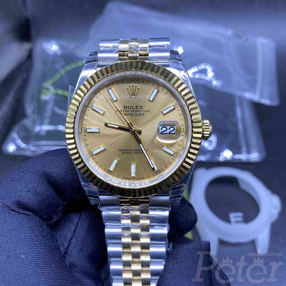 Datejust two tone gold case 39mm EW 3235 movement gold face jubilee band Swiss 1:1 grade men watch M125