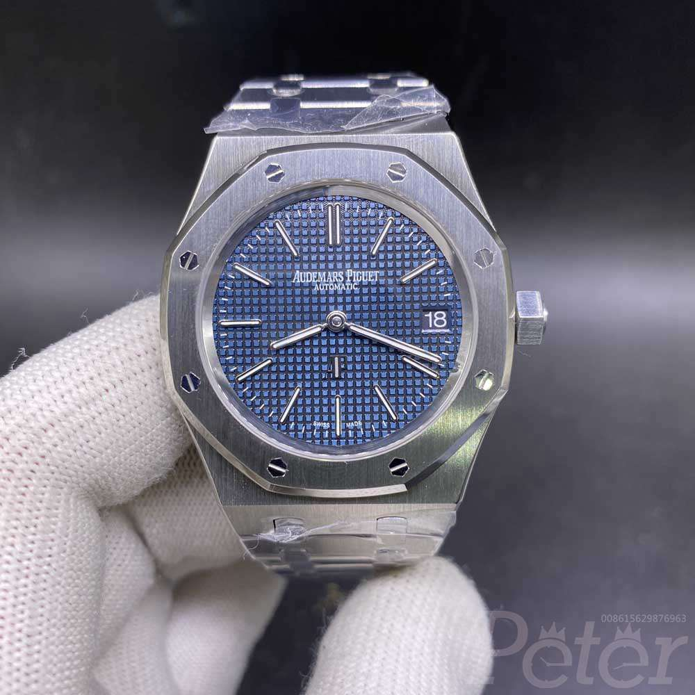 AP Swiss silver/blue 39mm automatic 9015 movement stainless steel thin case JF grade M130
