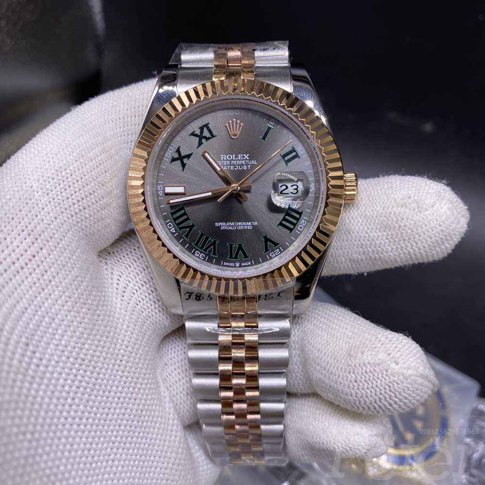 Datejust 41 rose gold 2tone case gray dial green roman numbers jubilee band men Rolex AAA watch S025