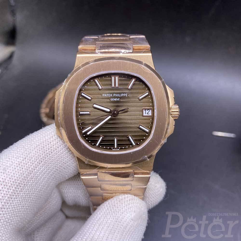 Patek rose gold thin case 40mm Cal.324 (9015) automatic brown dial Swiss 1:1 grade men watch M11