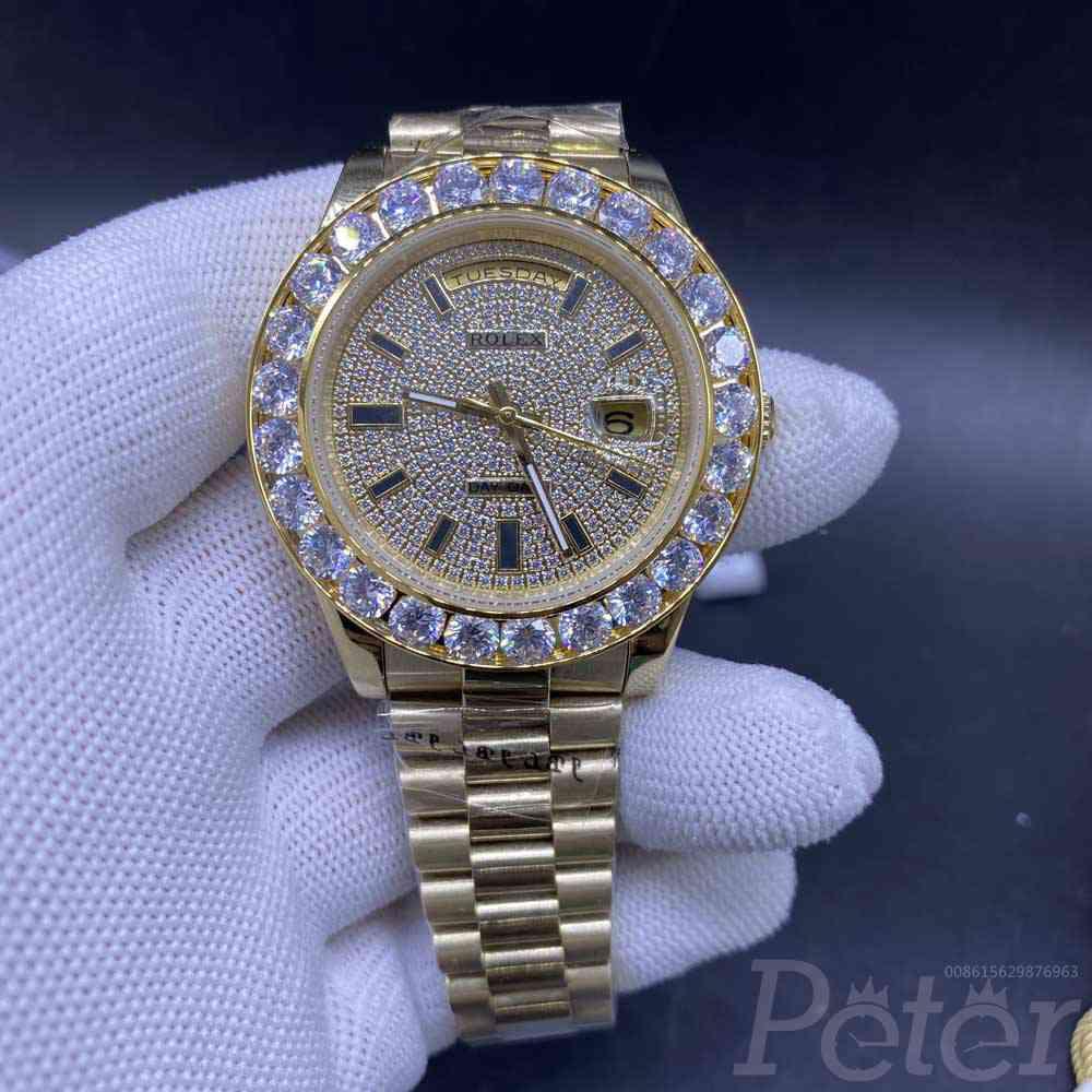 DayDate gold case 43mm big diamonds bezel diamonds face AAA automatic movement president band 0365