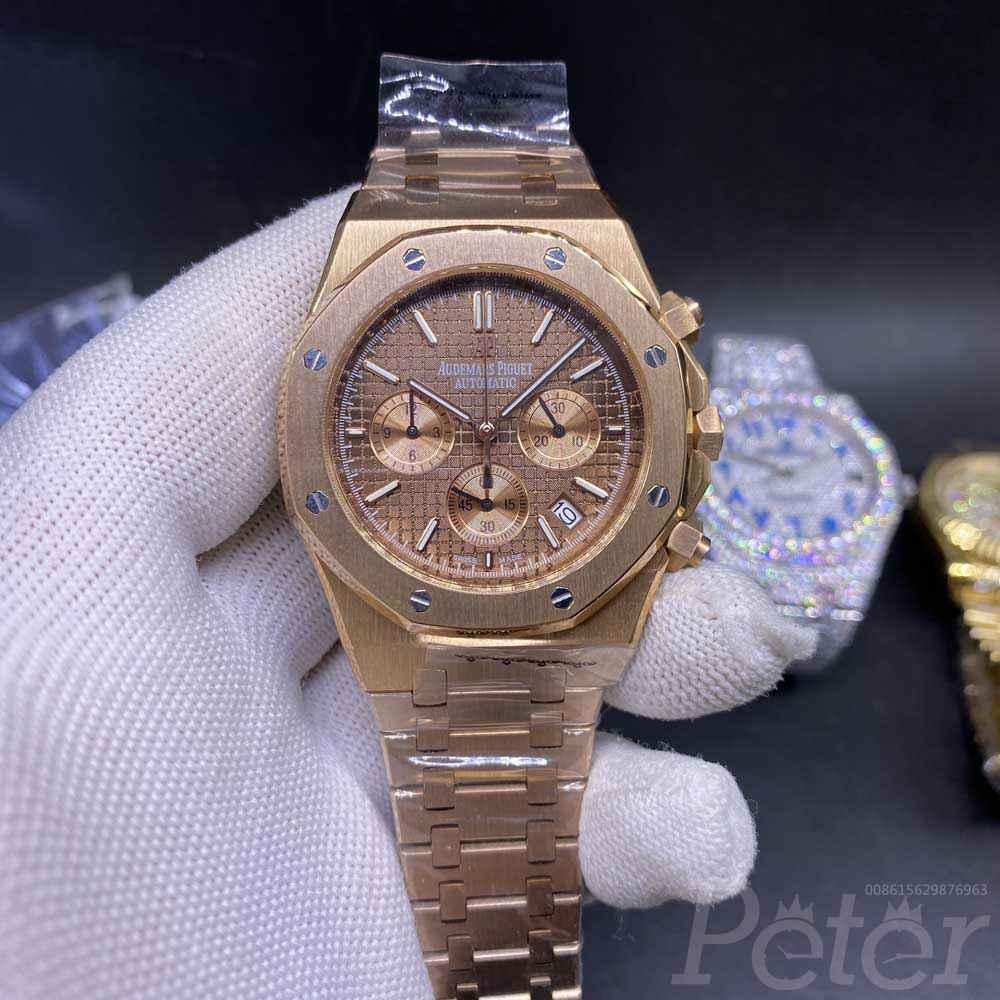 AP quartz rose gold AAA grade coffee dial chronograph full works men's stopwatch XJ031