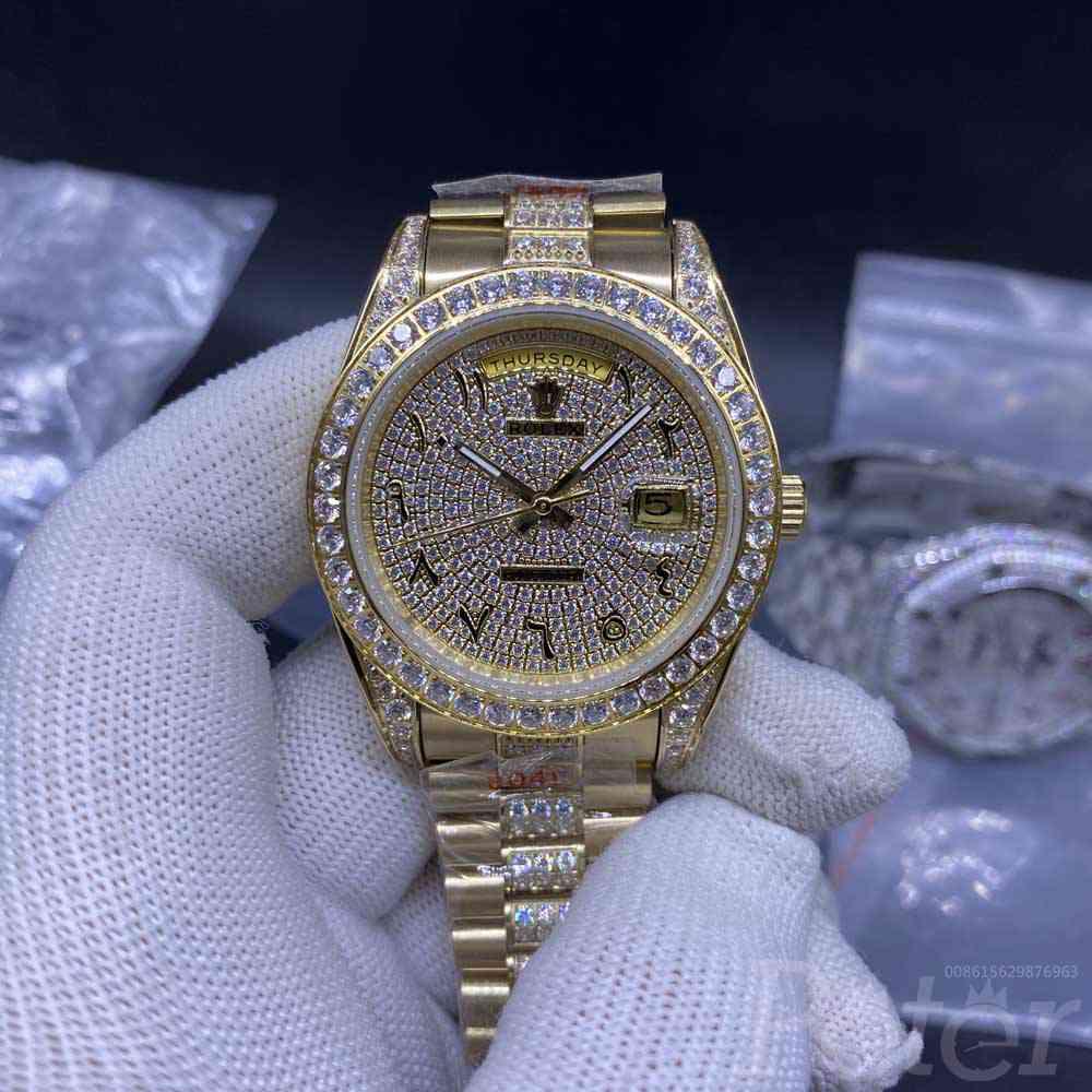 DayDate gold case 40mm diamonds bezel diamonds face arabic numbers AAA automatic 2813 movement S052