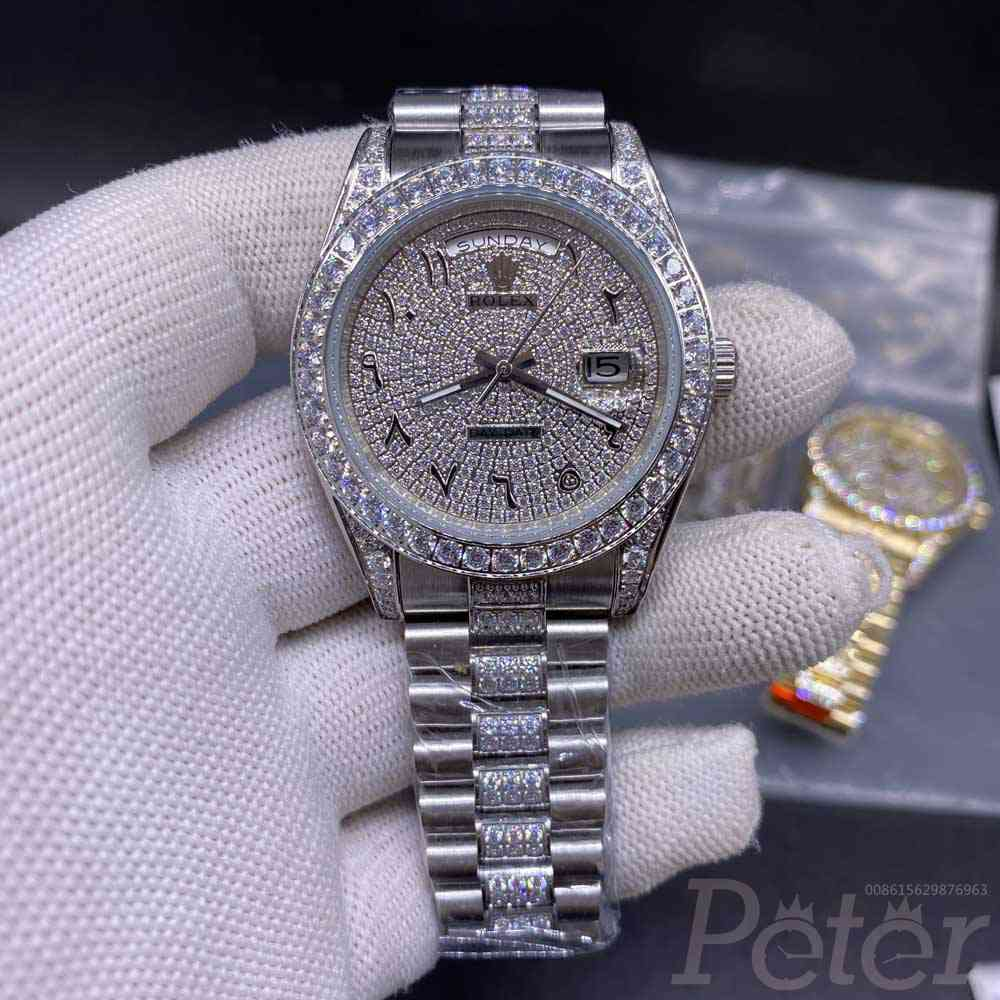 DayDate AAA automatic silver case 40mm diamonds face arabic numbers zircon stones S050