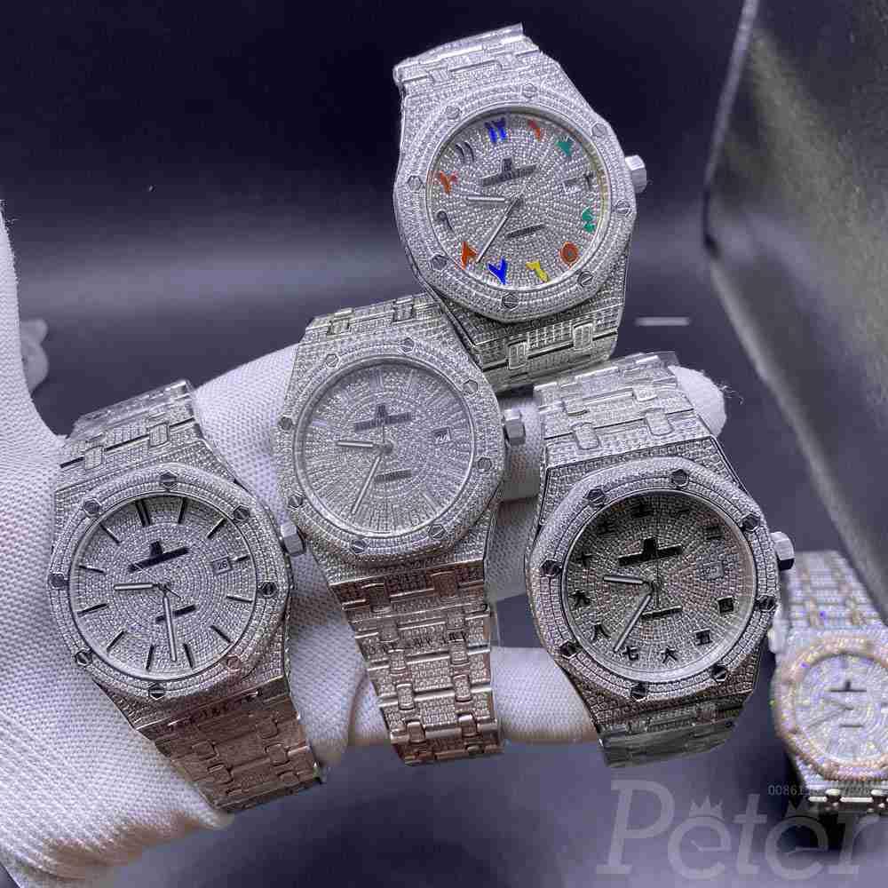 AP full diamonds silver case diamonds face AAA automatic shiny stones men's luxury watches M140