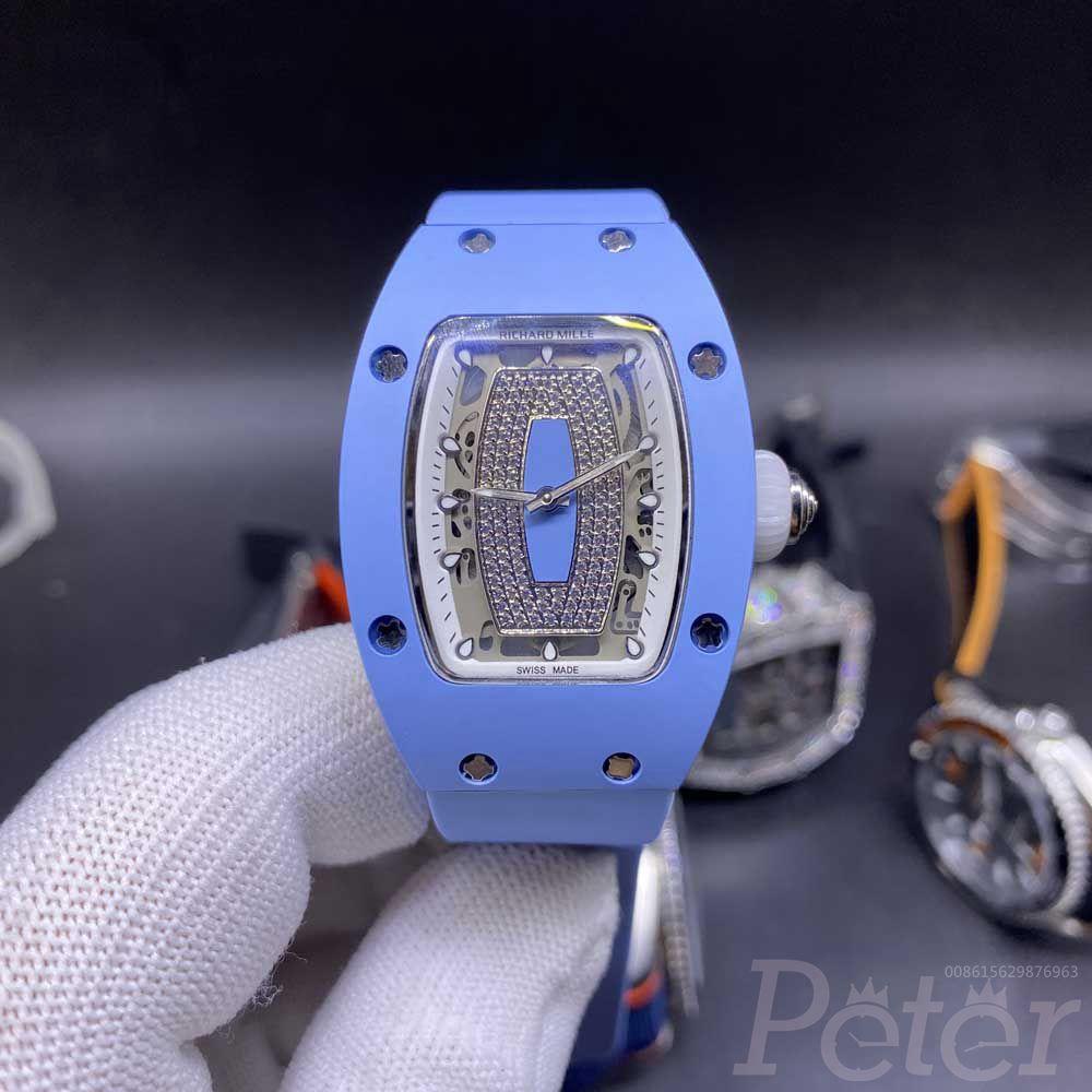 RM07-01 blue ceramic case diamonds face women size 31x45mm automatic Miyota blue rubber XD11