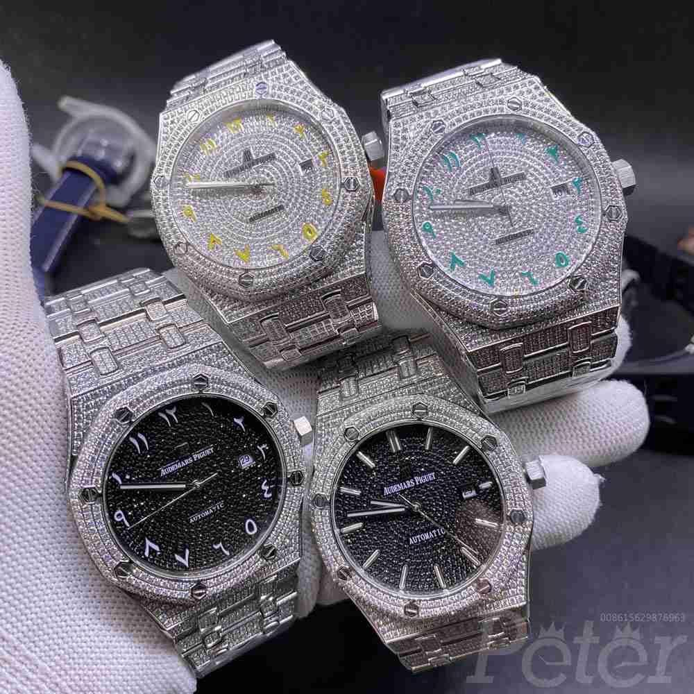 AP full diamonds silver case 42mm men's automatic shiny zircon stones watches high quality M140