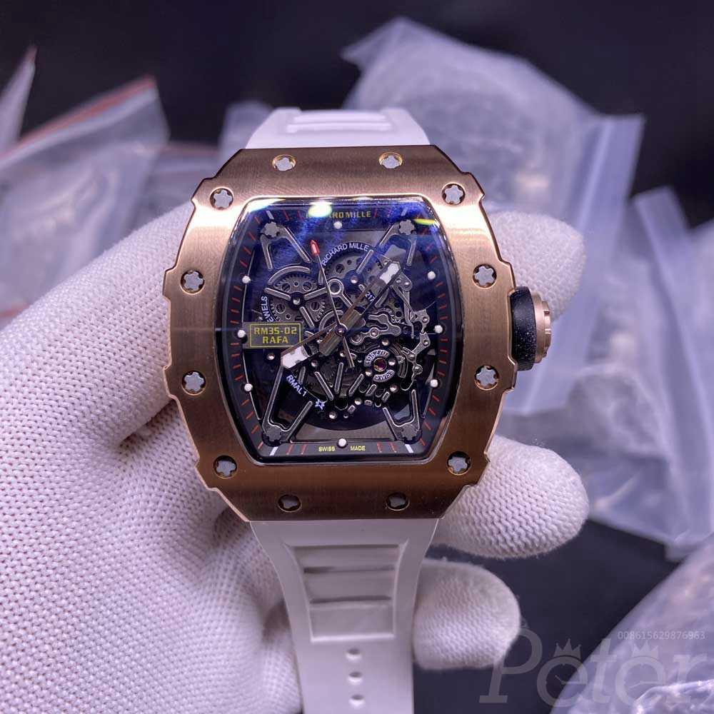 RM35-02 RAFA rose gold case 44x50mm skeleton dial white rubber strap Miyota automatic Men watch XD085