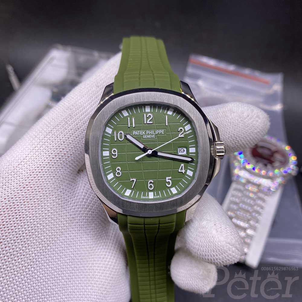 Patek 5168G silver case 40mm green dial green rubber strap AAA automatic men watch YC025