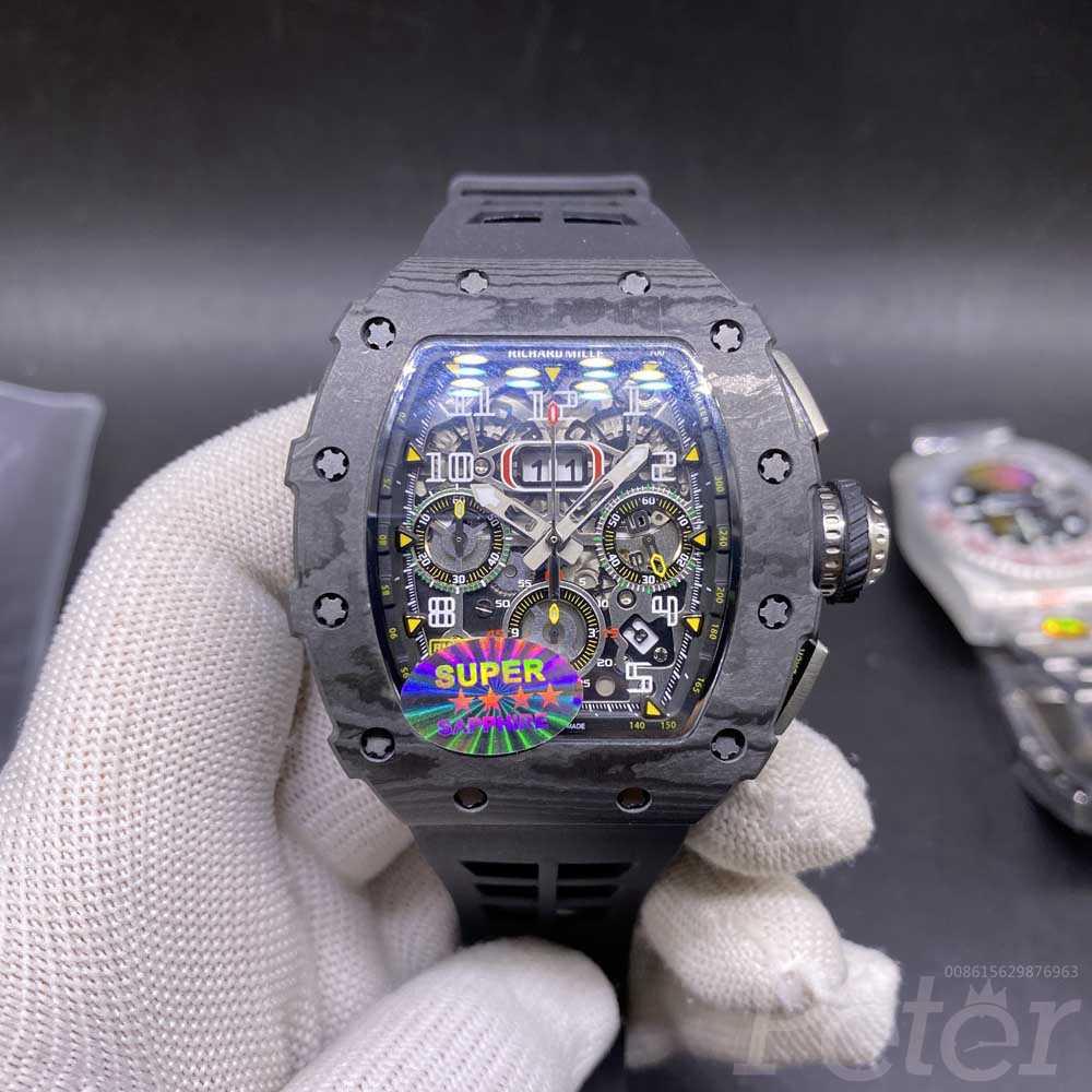 RM11-03 black carbon case 44x50mm Chronograph 7750 automatic movement black rubber strap men stopwatch M285