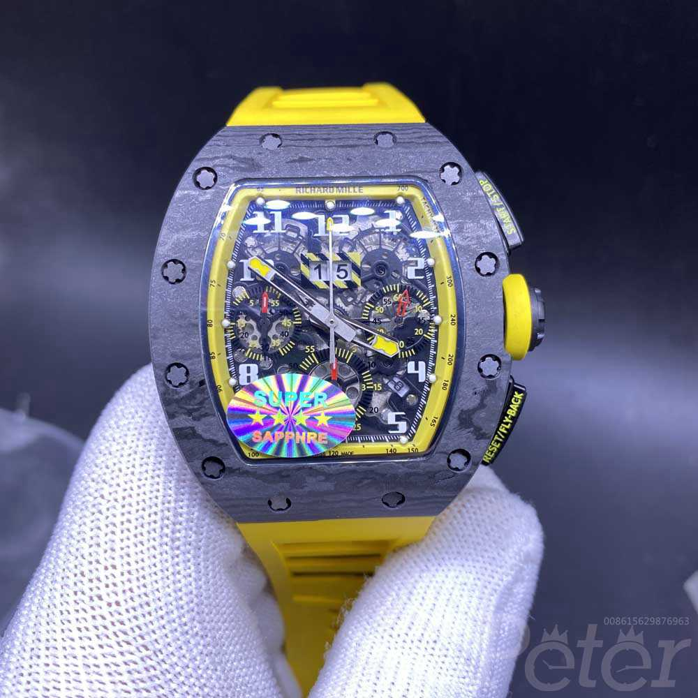 RM011 black Carbon case 42x50mm yellow rubber Chrongraph 7750 full works automatic men stopwatch M285