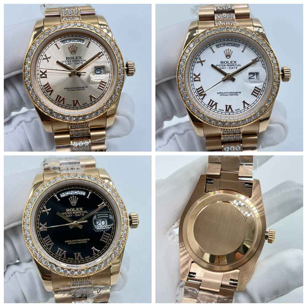 DayDate 36mm rose gold case roman numbers diamonds bezel AAA automatic rose/white/black dials S04