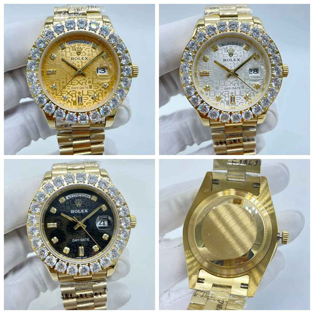 DayDate 43mm gold case computer dial pronset diamonds bezel AAA automatic 2813 gold/silver/black S03